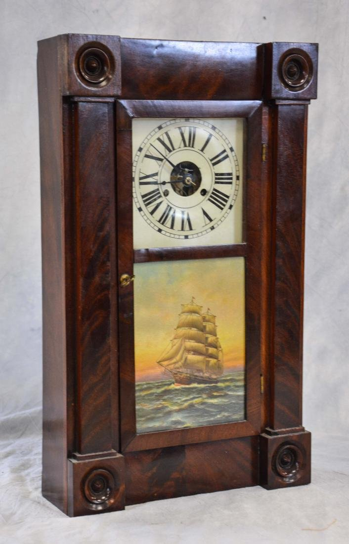 Mahogany Chauncey Jerome box clock, turned turret - 4