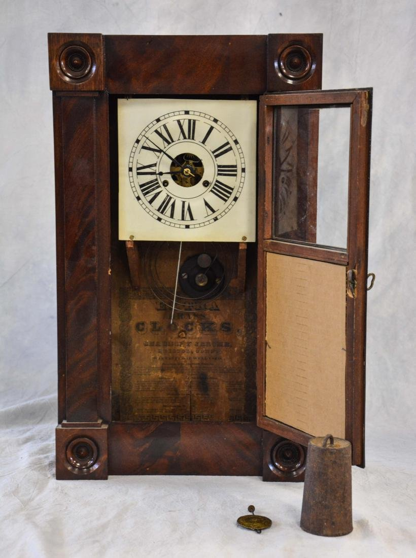 Mahogany Chauncey Jerome box clock, turned turret - 5