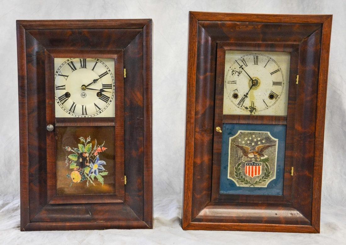 """(2) mahogany box clocks, Welsh, 18 1/4"""" tall;WS"""