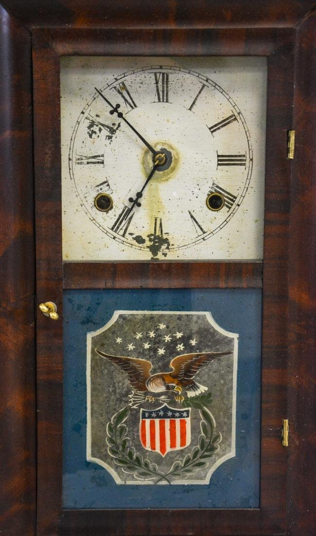 """(2) mahogany box clocks, Welsh, 18 1/4"""" tall;WS - 2"""