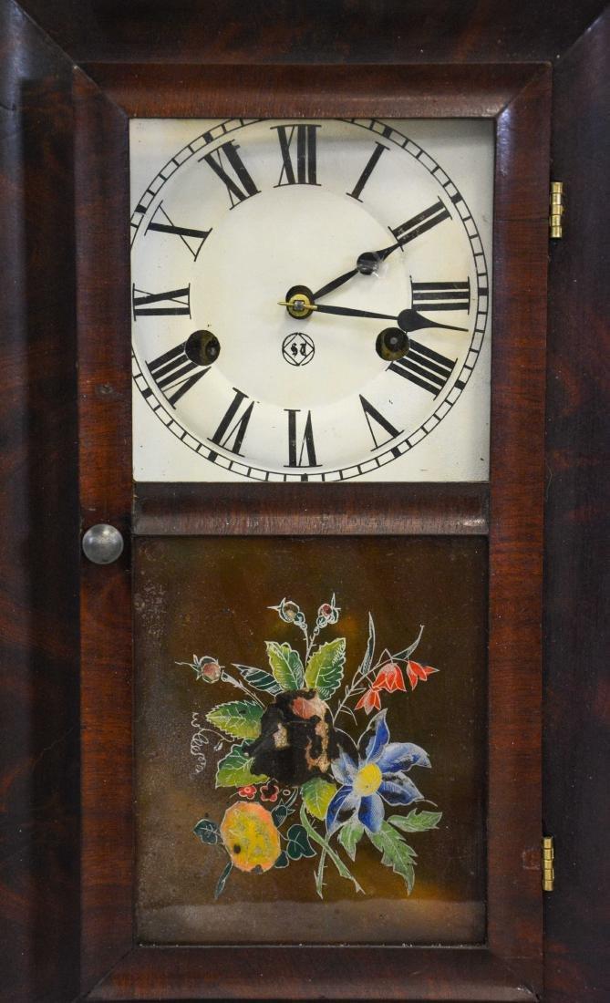 """(2) mahogany box clocks, Welsh, 18 1/4"""" tall;WS - 3"""