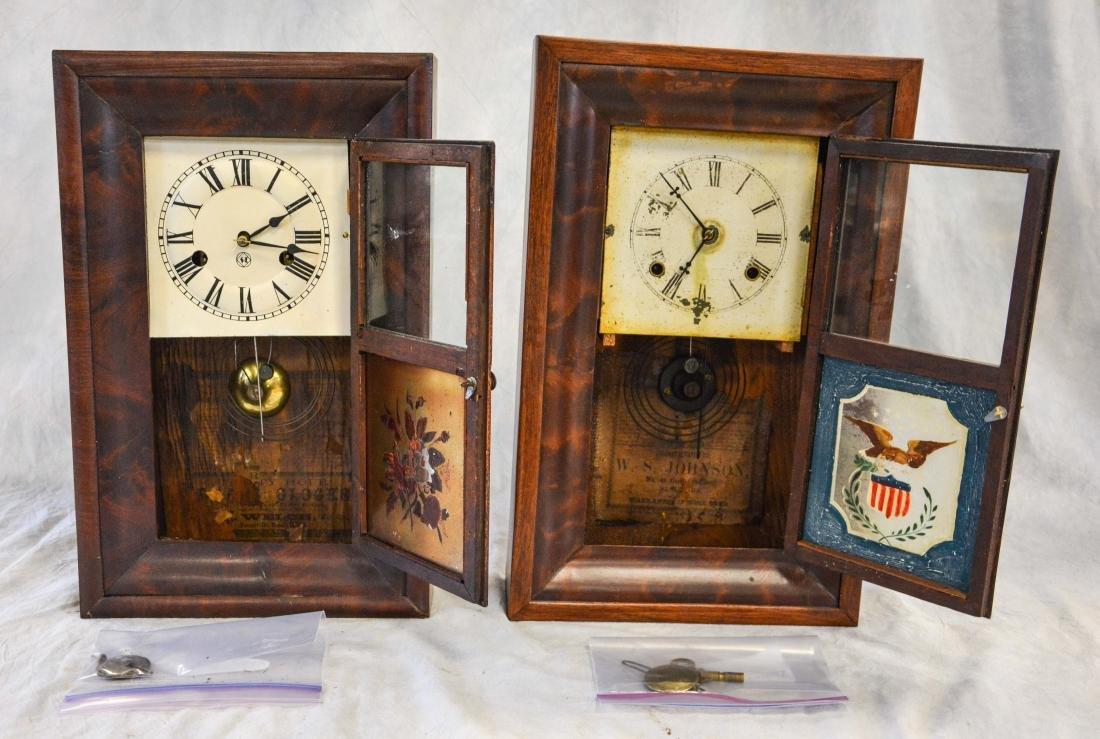 """(2) mahogany box clocks, Welsh, 18 1/4"""" tall;WS - 4"""