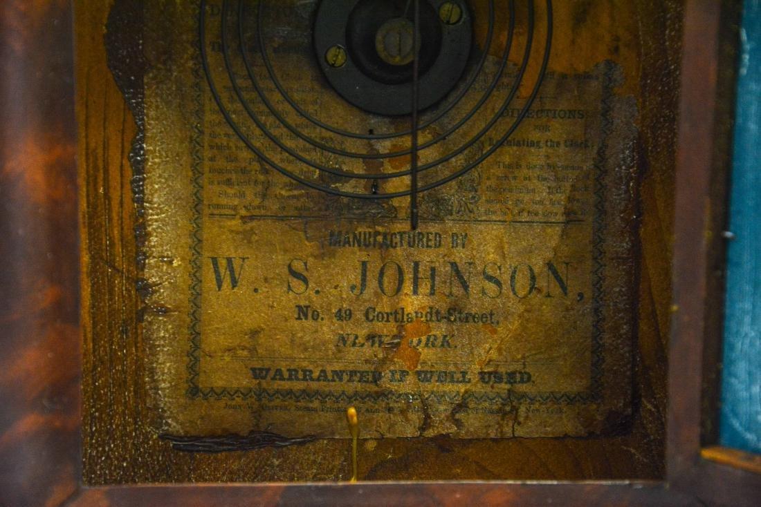 """(2) mahogany box clocks, Welsh, 18 1/4"""" tall;WS - 5"""