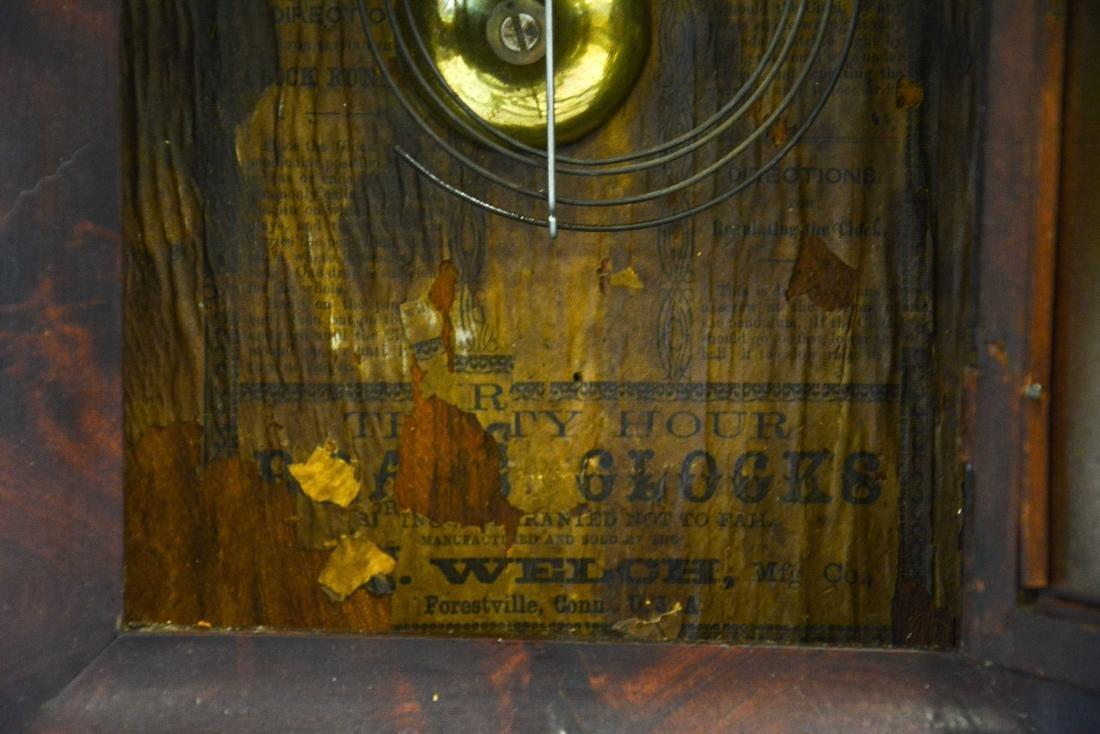 """(2) mahogany box clocks, Welsh, 18 1/4"""" tall;WS - 6"""