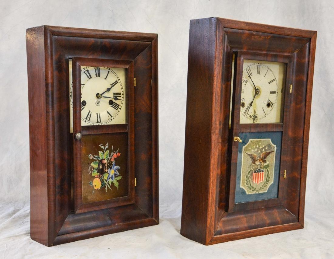 """(2) mahogany box clocks, Welsh, 18 1/4"""" tall;WS - 7"""