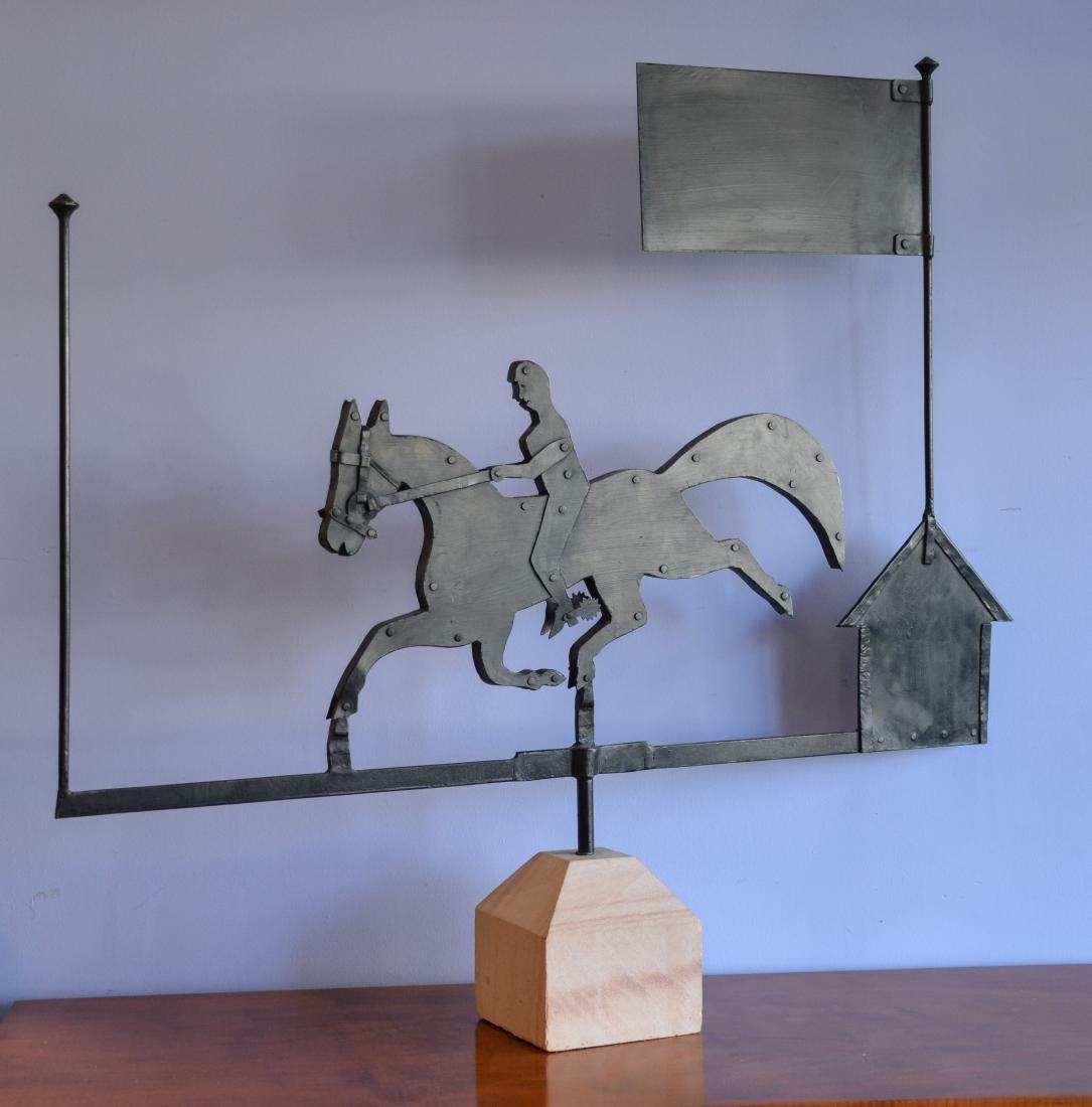 Custom made iron weathervane, horse & rider and house