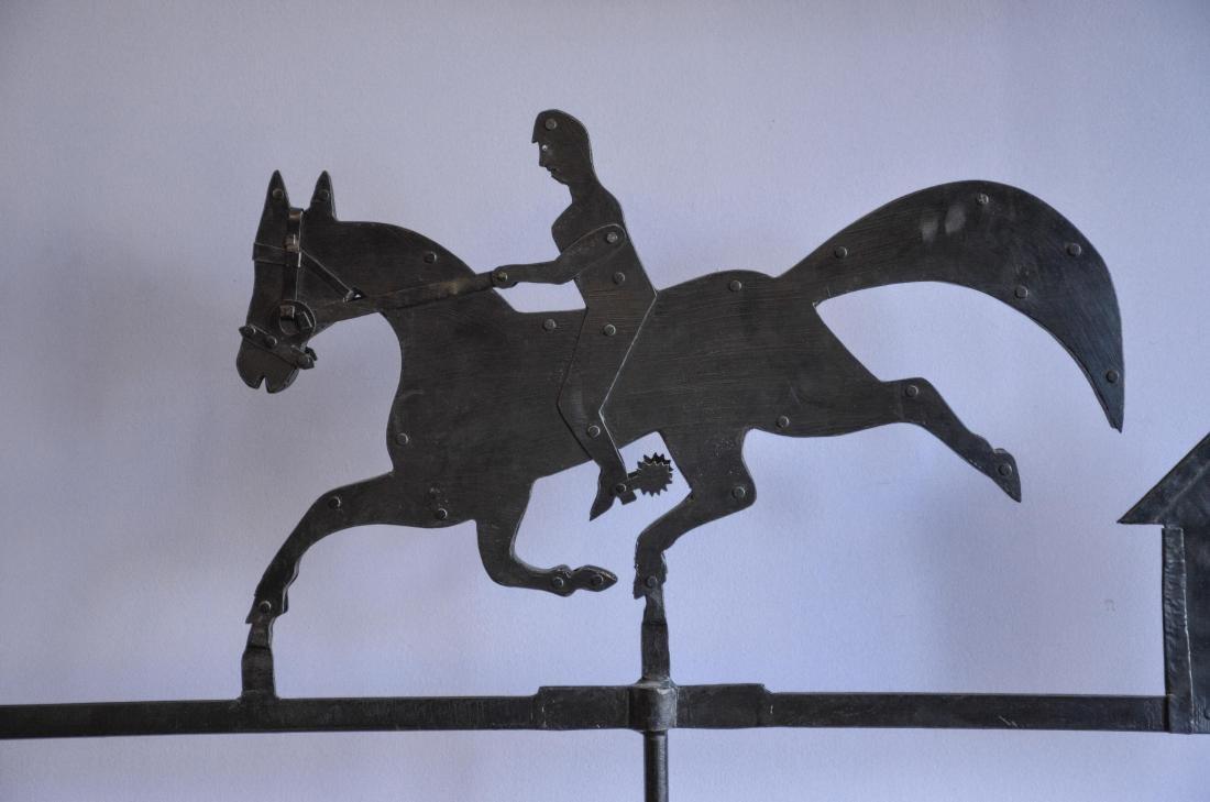 Custom made iron weathervane, horse & rider and house - 2