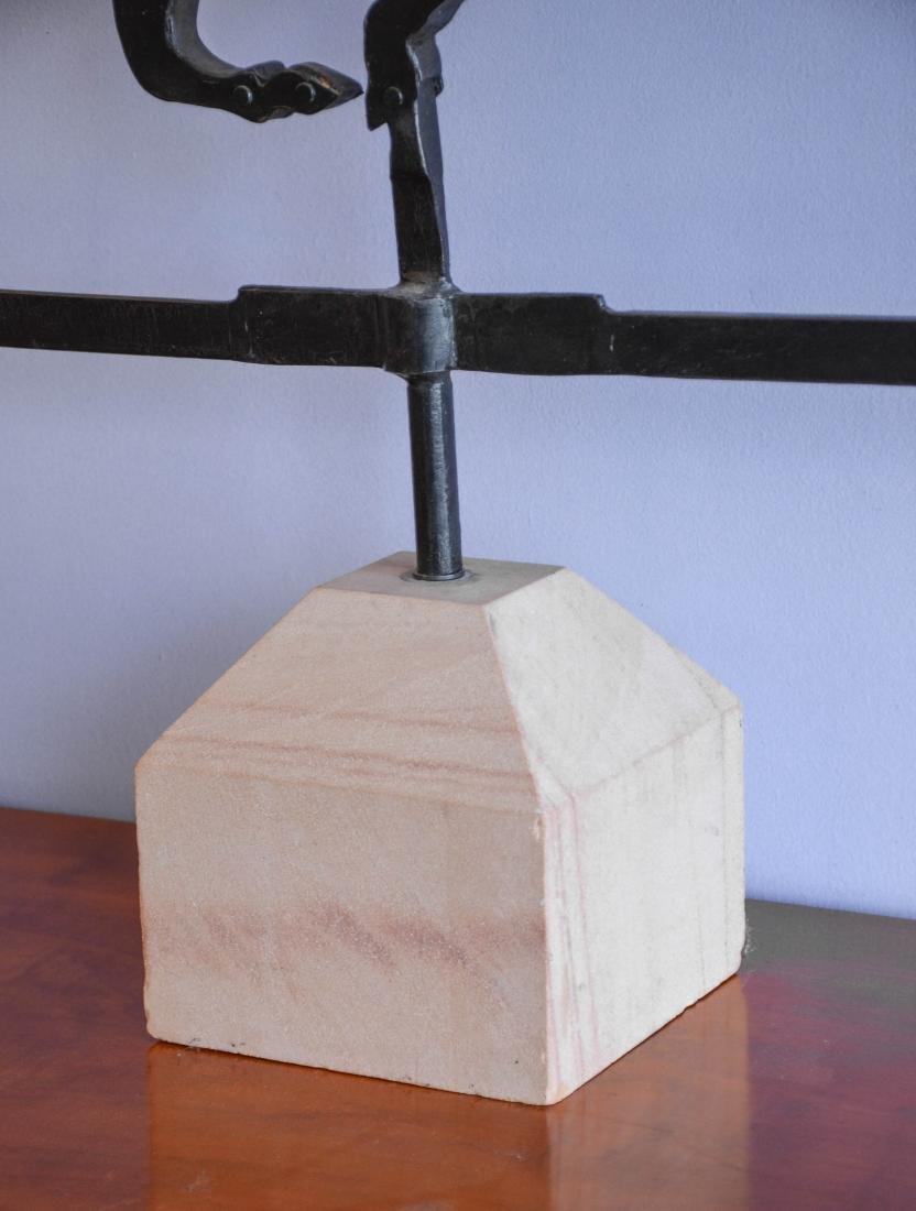 Custom made iron weathervane, horse & rider and house - 3