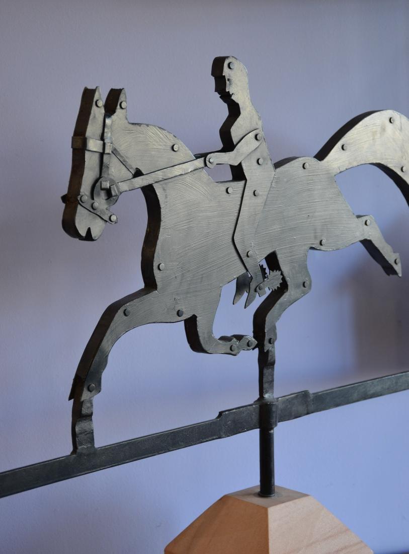 Custom made iron weathervane, horse & rider and house - 4