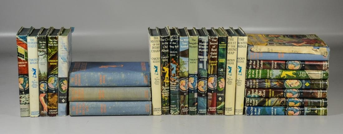 25 Nancy Drew books by Carolyn Keene, 3 without dust