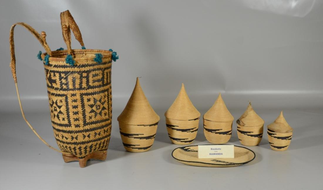Rwanda African primitive baskets; Vietnamese Backpack