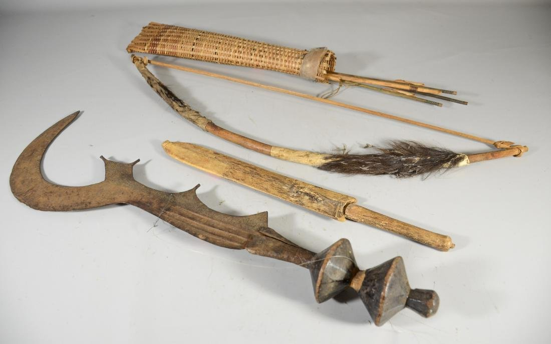 3 african primitive tribal weapons: dagger, bow, knife