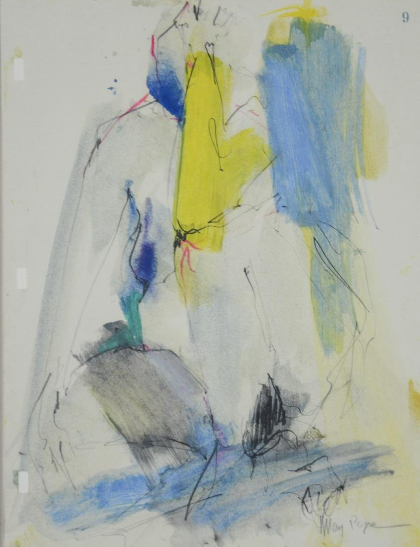 Mary Page Evans, VA, 20th c, w/c & pencil, abstract,