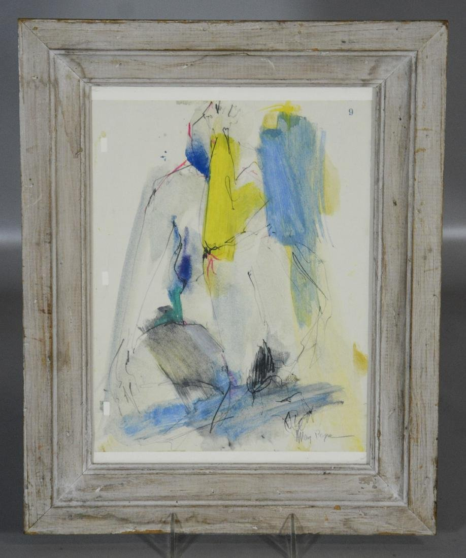 Mary Page Evans, VA, 20th c, w/c & pencil, abstract, - 2