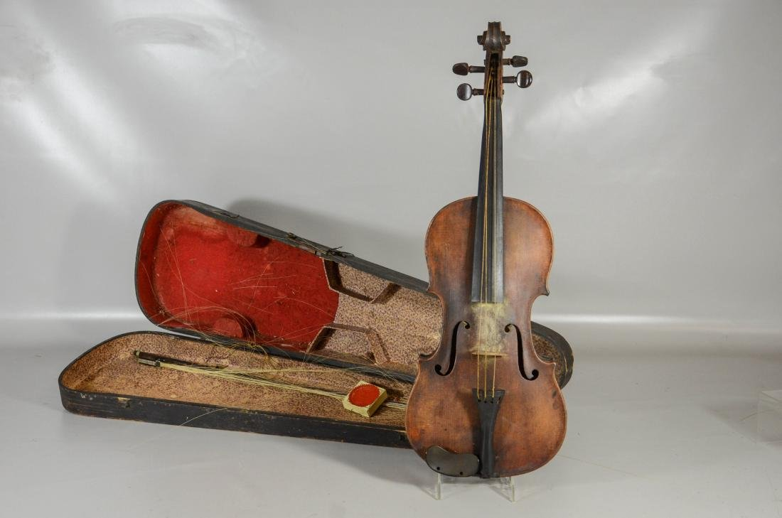 Unmarked violin, single piece figured maple back,