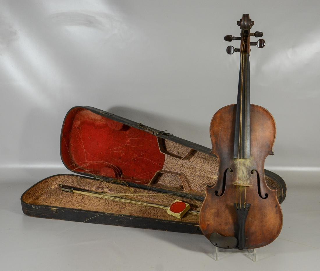 Unmarked violin, single piece figured maple back, - 2