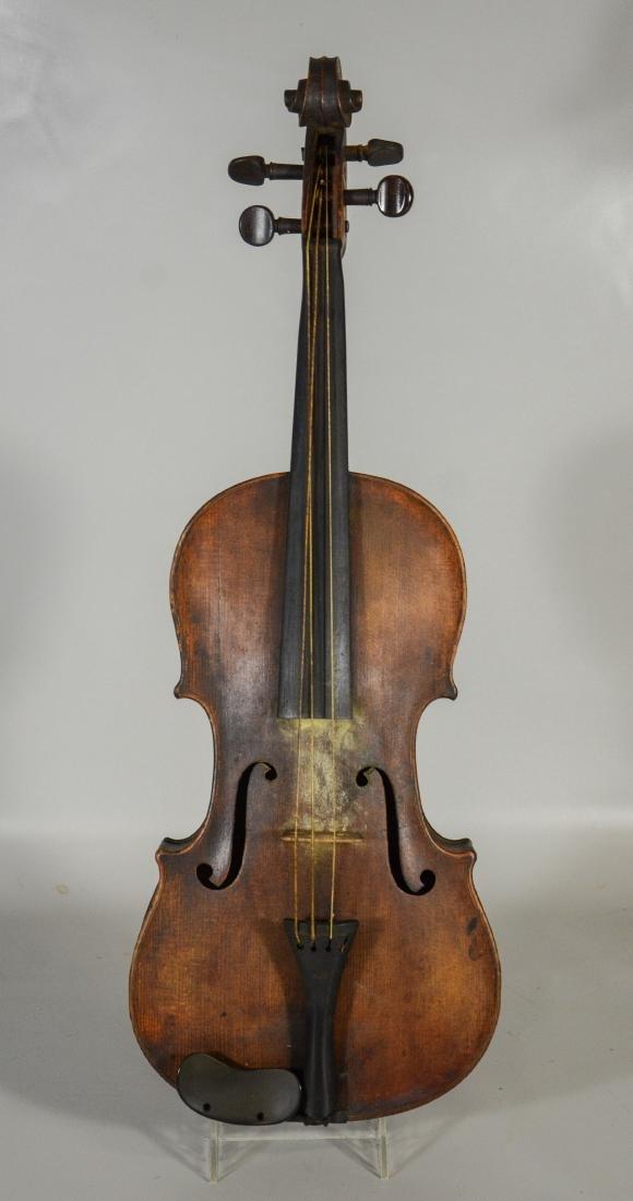 Unmarked violin, single piece figured maple back, - 3