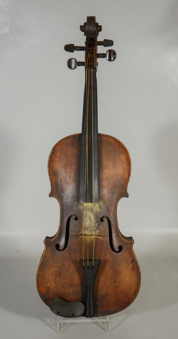 Unmarked violin, single piece figured maple back, - 3