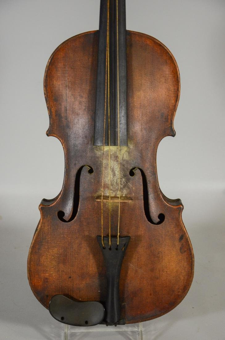 Unmarked violin, single piece figured maple back, - 4