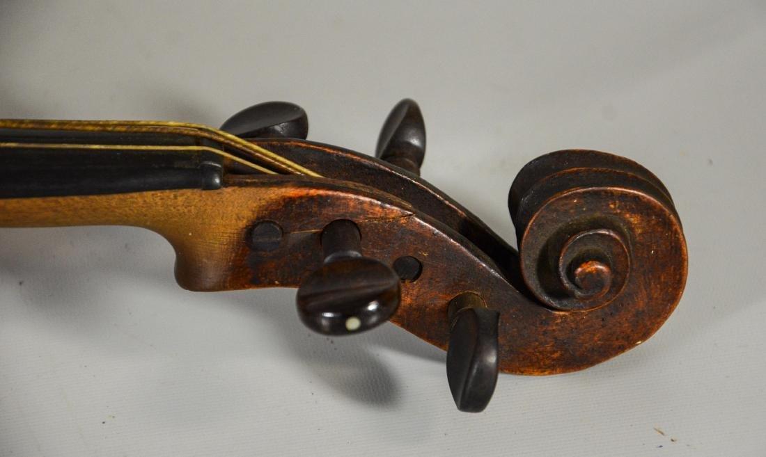 Unmarked violin, single piece figured maple back, - 7