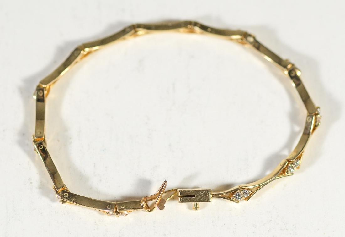 14K YG diamond bracelet, 4.9 dwt, 24 round diamonds, - 2
