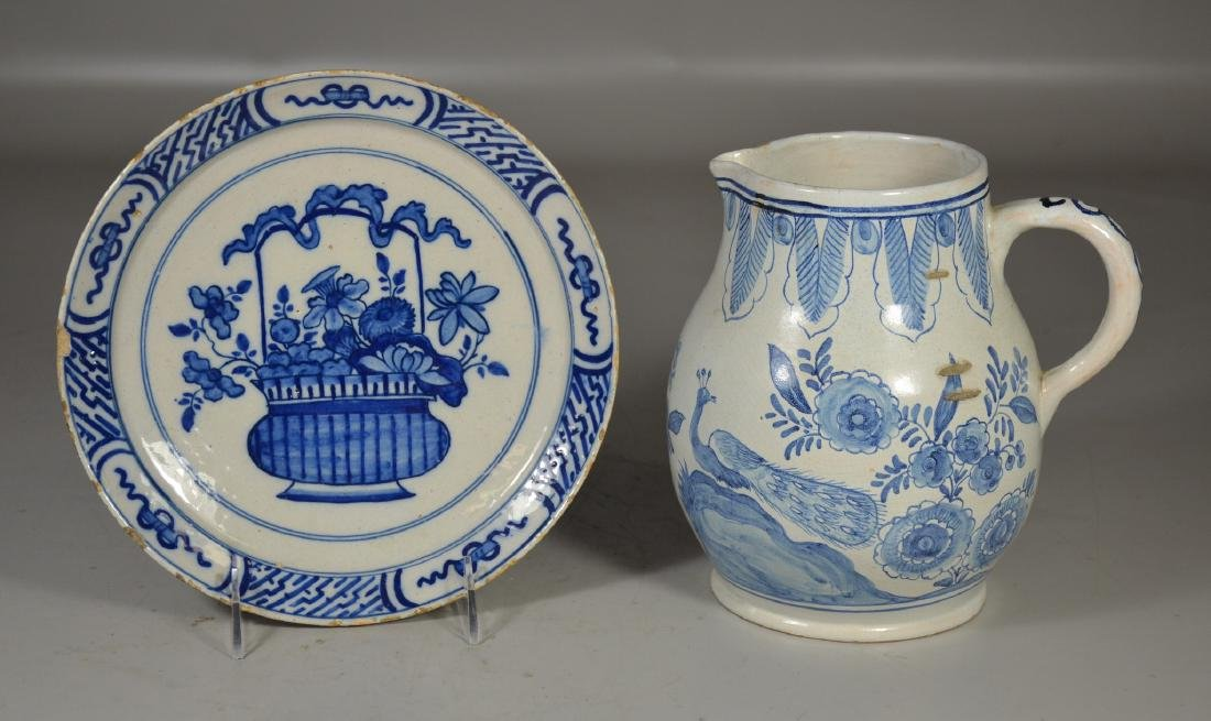 """Early Delft plate, tin glazed, 9"""" d;  with a Delft"""