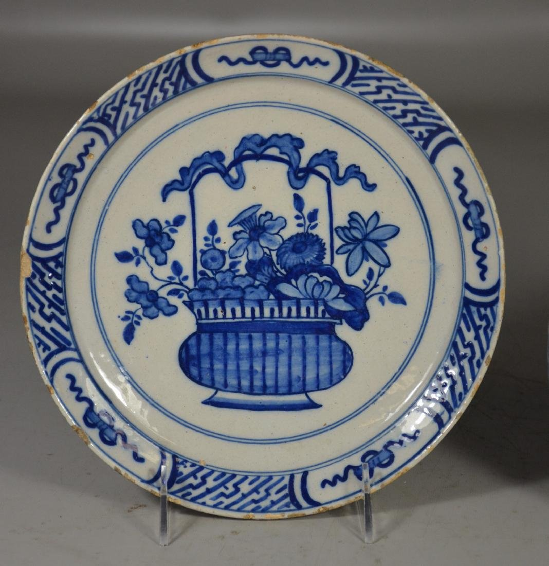 """Early Delft plate, tin glazed, 9"""" d;  with a Delft - 2"""