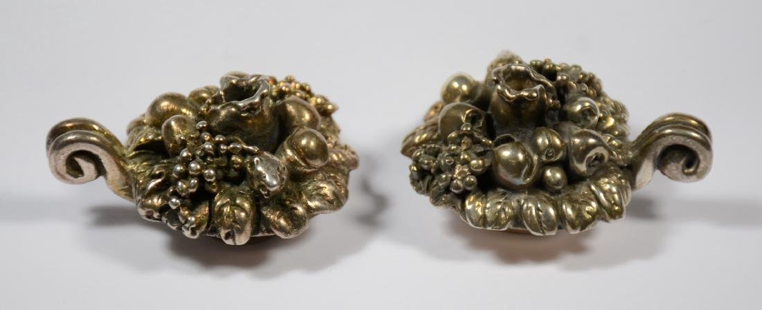 Pr sterling silver miniature fruit cornucopia candle