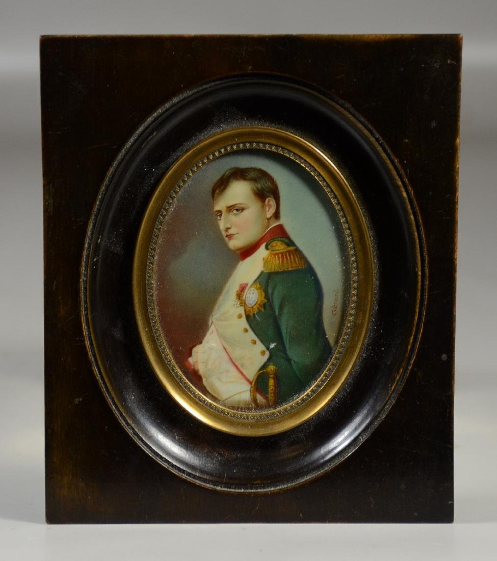 Oval miniature portrait of Napoleon on ivory, 19th c,