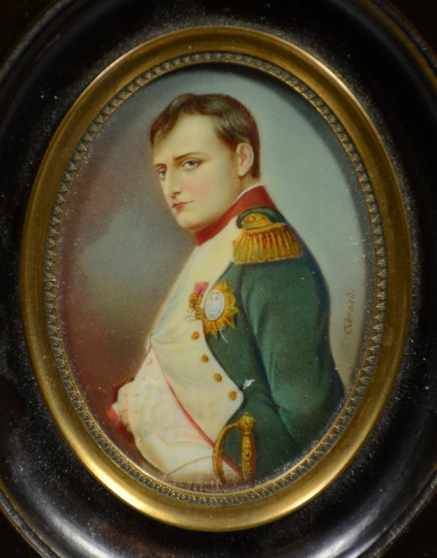 Oval miniature portrait of Napoleon on ivory, 19th c, - 2