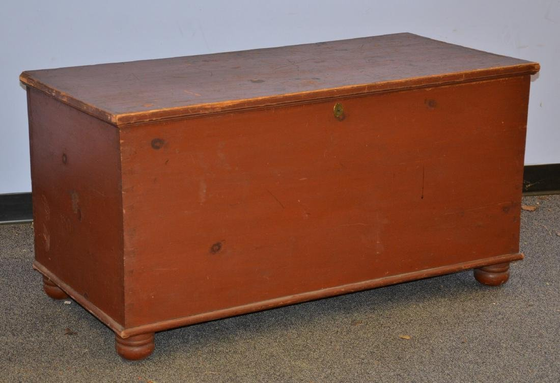 Red Painted Dovetailed Blanket Chest, with till, normal