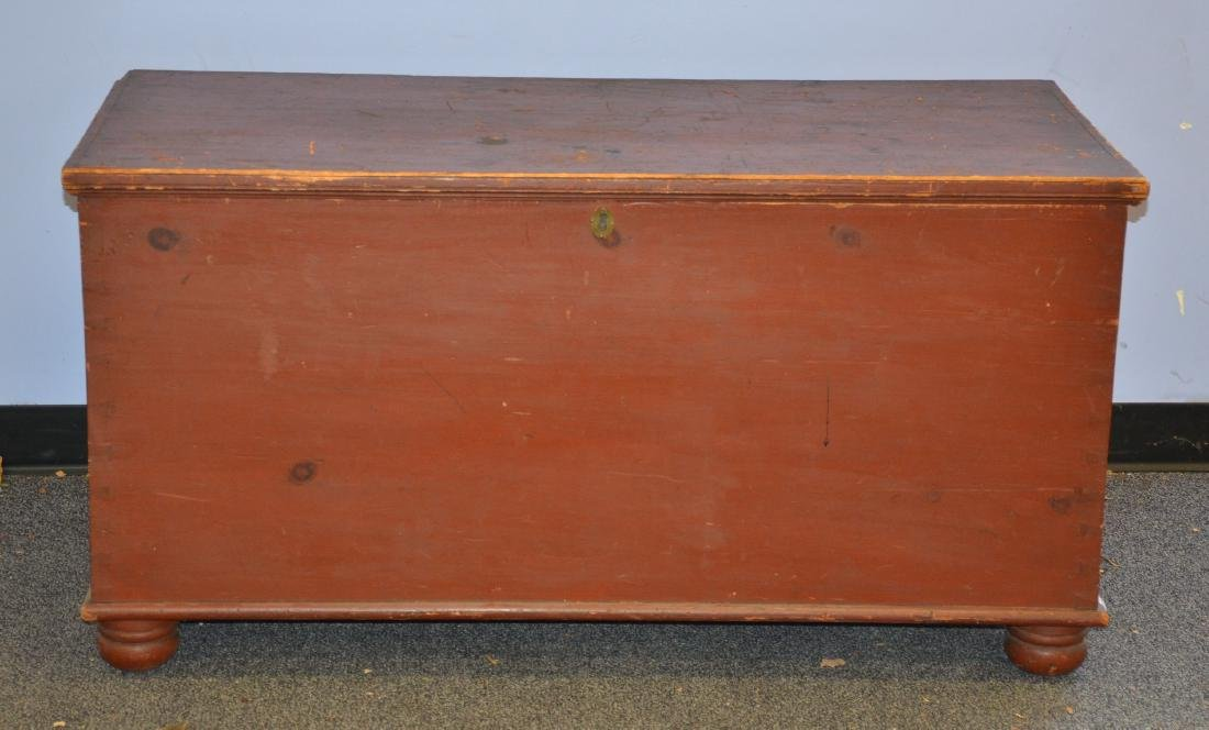 Red Painted Dovetailed Blanket Chest, with till, normal - 2