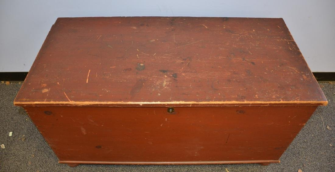 Red Painted Dovetailed Blanket Chest, with till, normal - 3