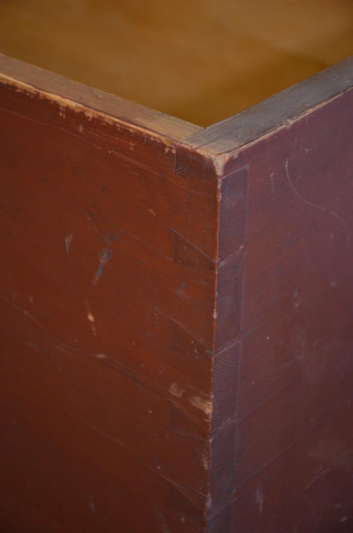 Red Painted Dovetailed Blanket Chest, with till, normal - 7