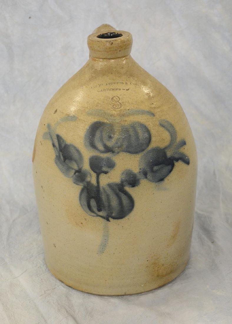 "3 Gallon blue decorated stoneware jug, marked ""FA"