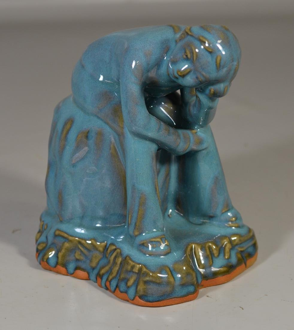 Contemporary blue glazed seated figure