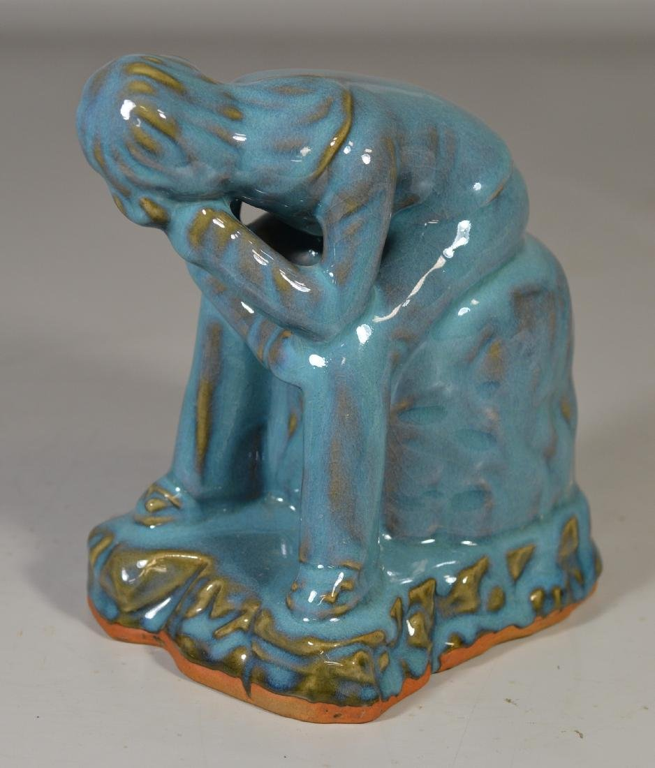 Contemporary blue glazed seated figure - 2