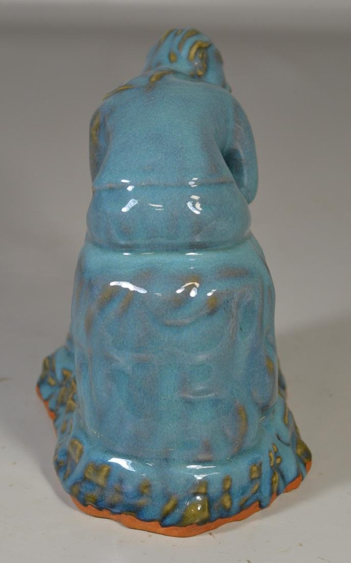 Contemporary blue glazed seated figure - 3