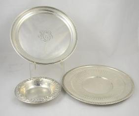 S Kirk Sterling Repousse Low Bowl, 2 Round Trays