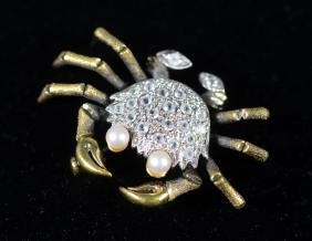 Unmarked Yellow Gold Crab Pin, 7.7 dwt