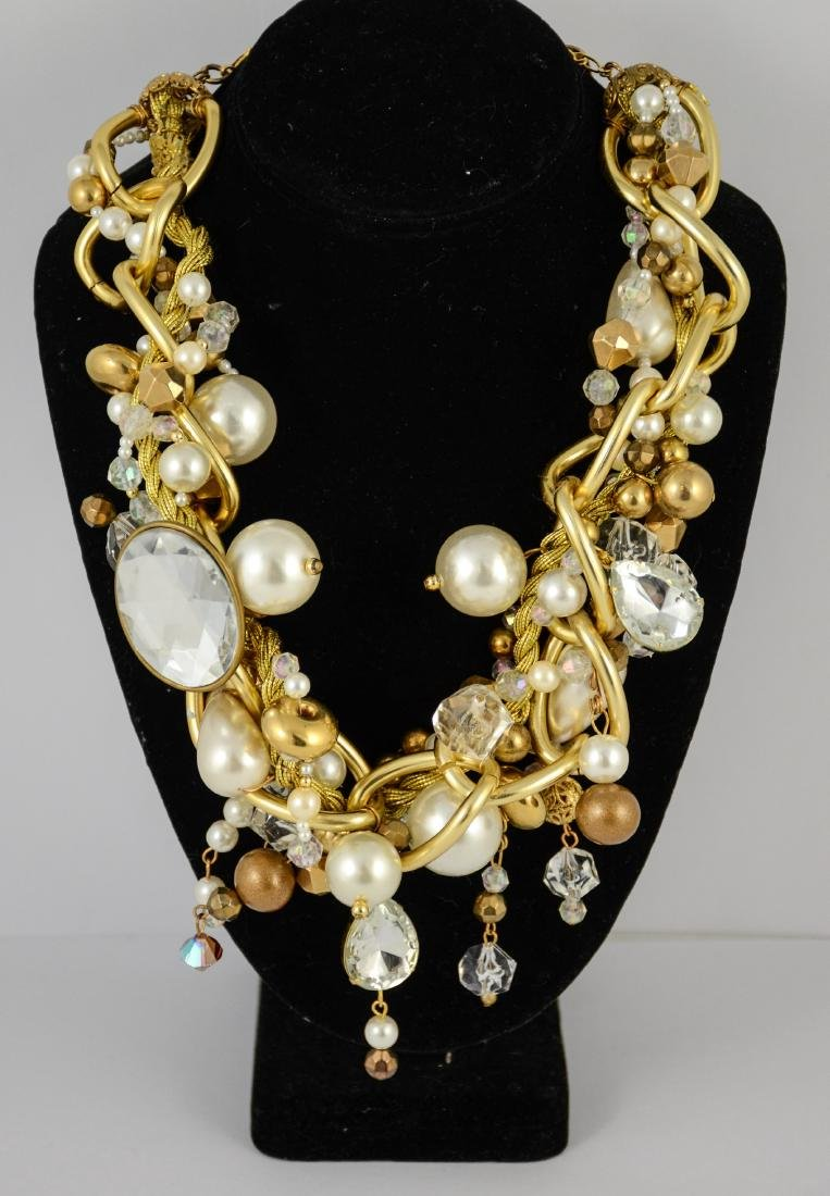 Large bead & faux pearl necklace by Maya