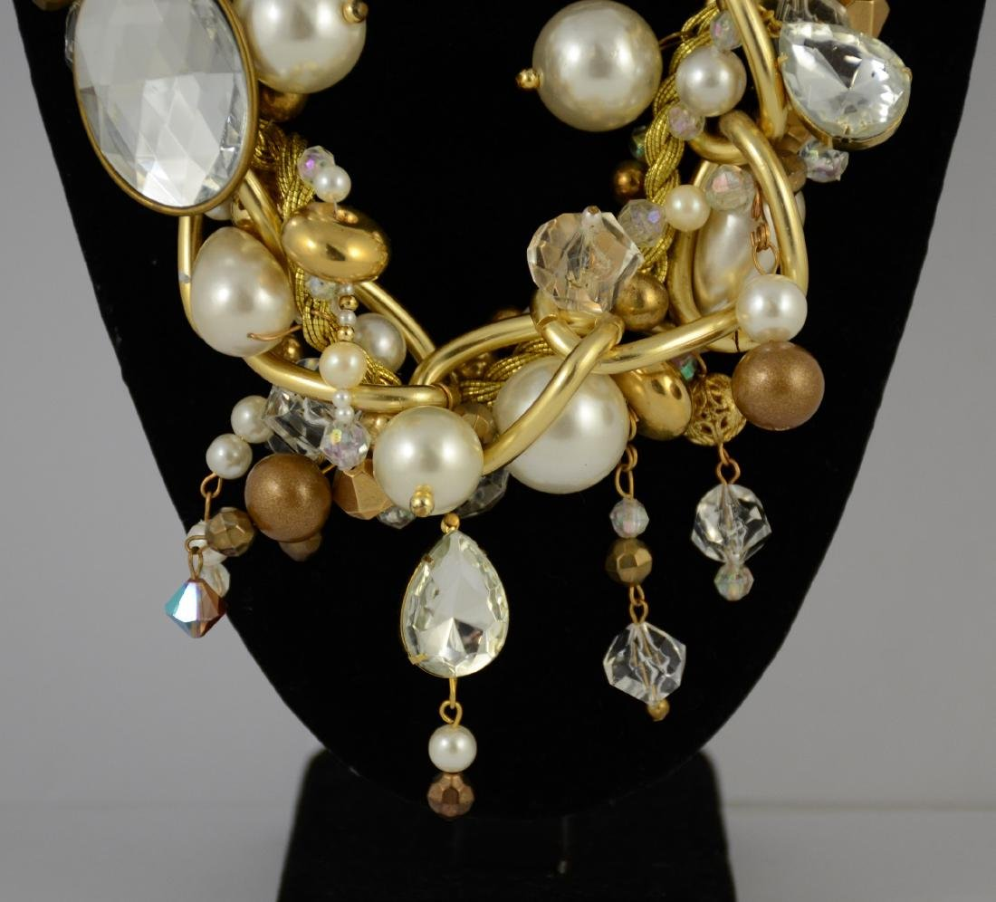 Large bead & faux pearl necklace by Maya - 8
