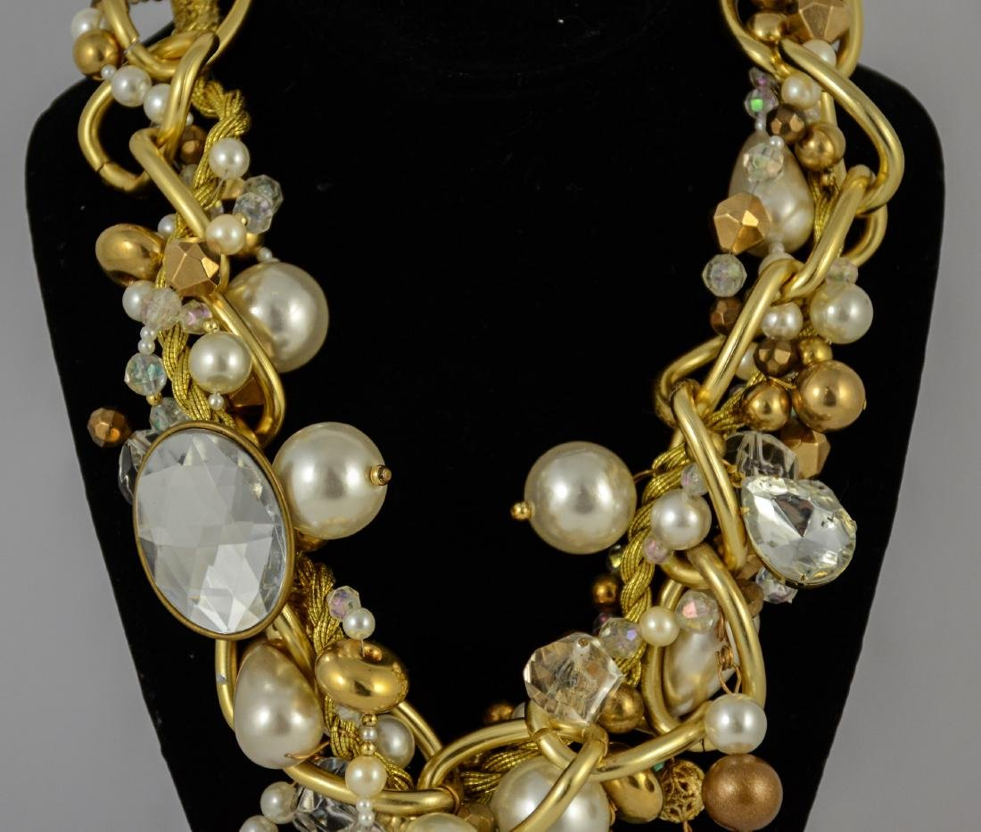 Large bead & faux pearl necklace by Maya - 9