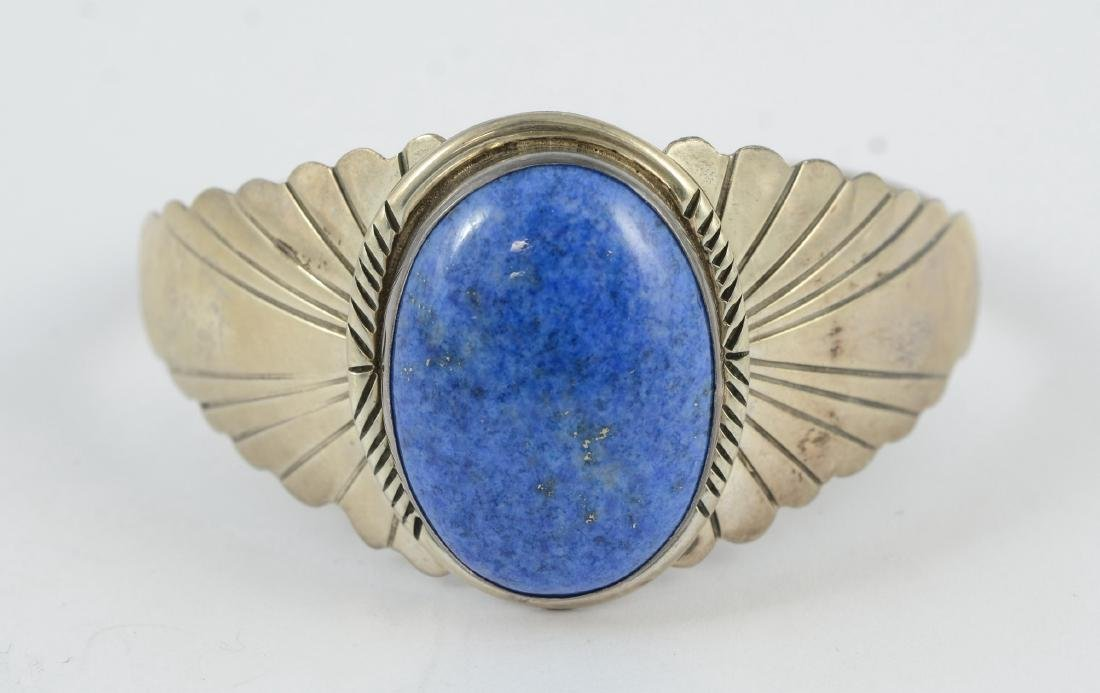 Sterling & lapis cuff, marked sterling 1.02 TOZ