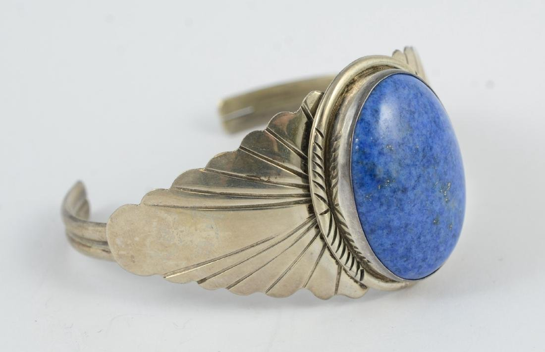 Sterling & lapis cuff, marked sterling 1.02 TOZ - 2