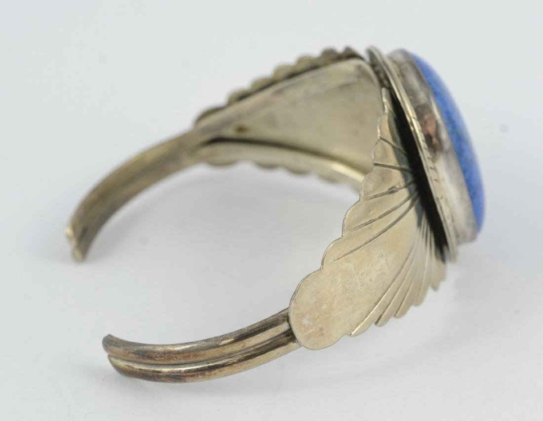 Sterling & lapis cuff, marked sterling 1.02 TOZ - 3