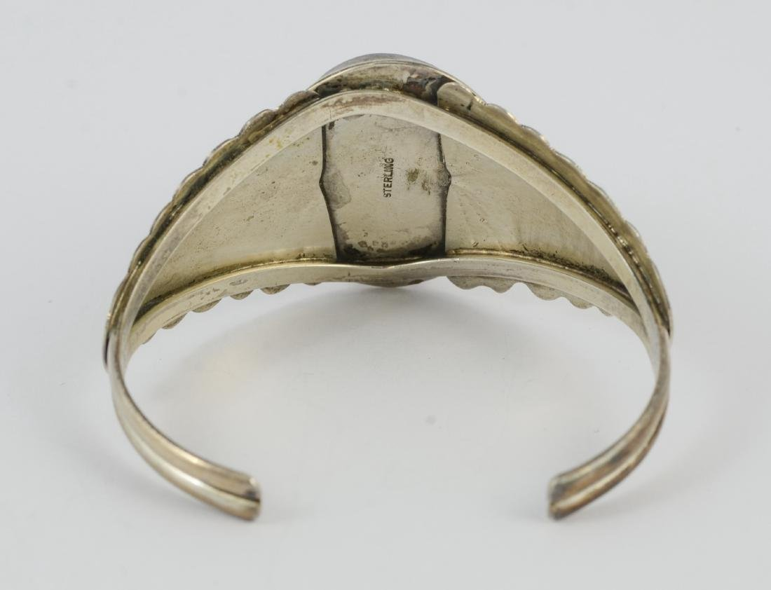Sterling & lapis cuff, marked sterling 1.02 TOZ - 4
