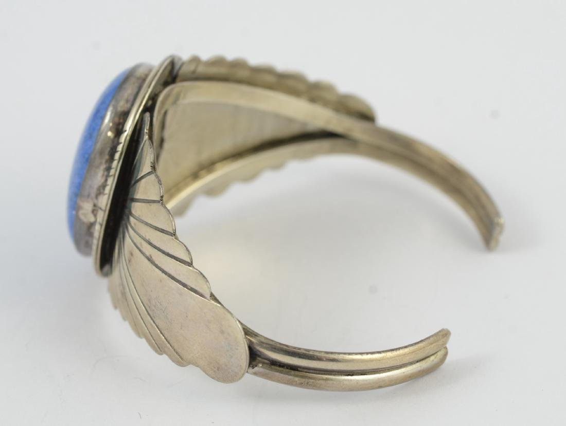 Sterling & lapis cuff, marked sterling 1.02 TOZ - 5