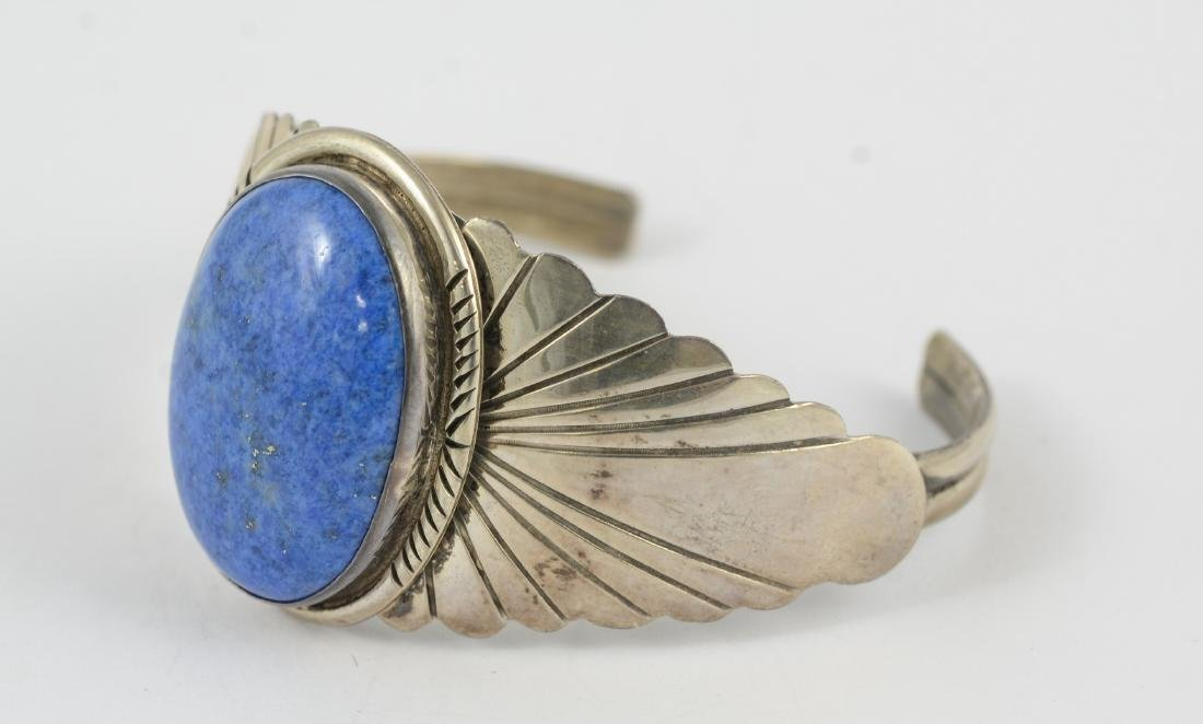 Sterling & lapis cuff, marked sterling 1.02 TOZ - 6