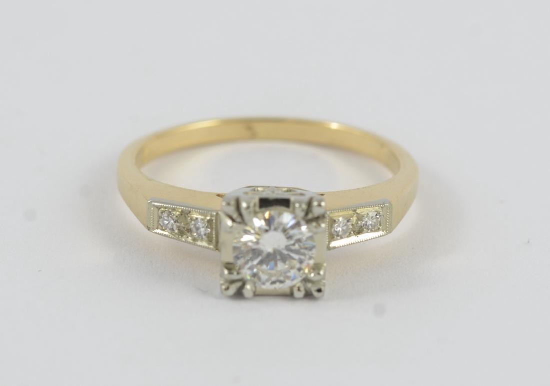 14K gold 50's vintage engagement ring, sz 5 1/2 - 6